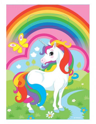 8 Kunststoffbeutel Einhorn mit Regenbogen