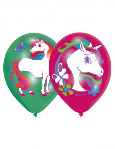 6 Latex Ballons mit Einhorn