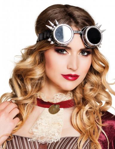 Cyperpunk Brille silberfarben Steampunk