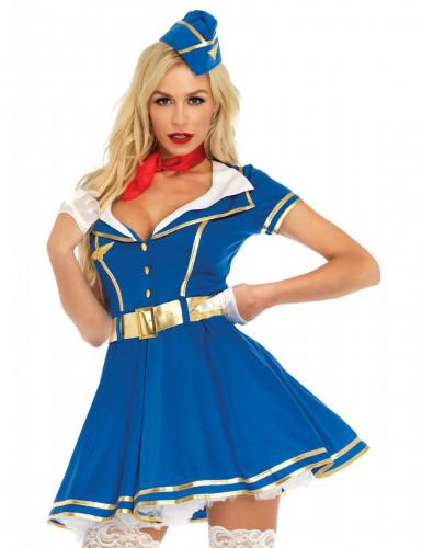 Sexy Stewardess Kostüm für Damen blau