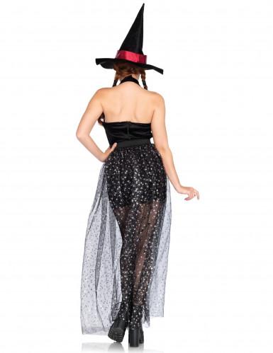 Elegantes Hexenkostüm mit abnehmbarem Rock Damen Halloween-1