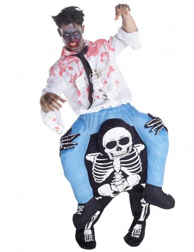 Kostüm Mann auf den Schultern eines Skeletts