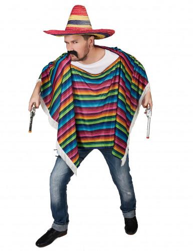 Mexikanischer Poncho mit bunten Streifen