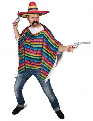 Mexikanischer Poncho mit bunten Streifen-1