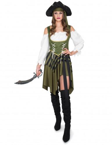 Verführerische Piratin Seeräuberin Damenkostüm grün-1