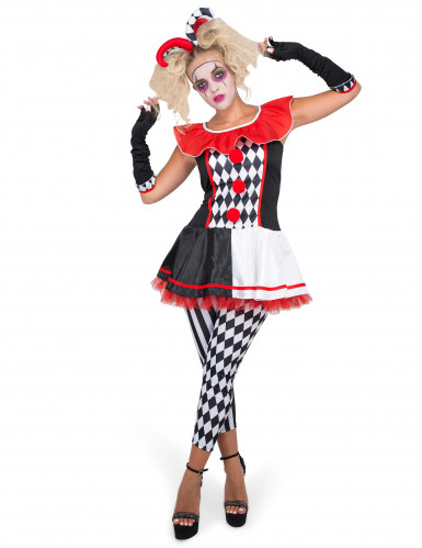 Harlekin-Kostüm für Damen 4-teilig schwarz weiß rot