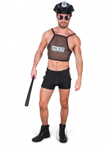Frivoles Polizisten-Kostüm für Herren schwarz