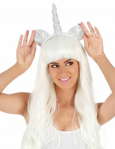 Einhorn Haarreif für Erwachsene silber-1