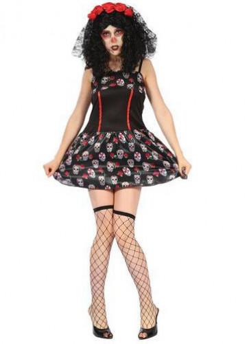 Tag der Toten Damen-Kostüm Totenschädel schwarz-rot-weiß