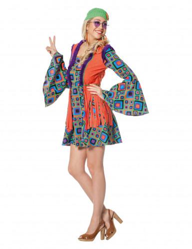 Hippie-Kostüm mit Fransen für Damen bunt