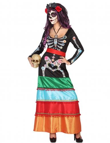 Dia de los muertos Kleid mit Knochen-Motiv bunt