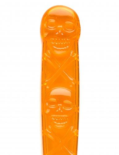 6 Löffel orange mit Totenköpfen 18cm-1