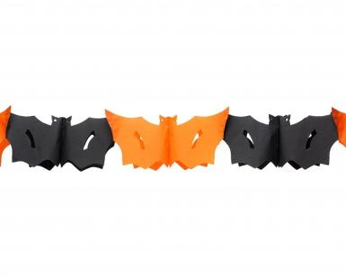 Fledermausgirlande orange schwarz 3 m