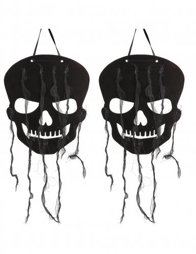 2 Deko Schädel schwarz 63 cm