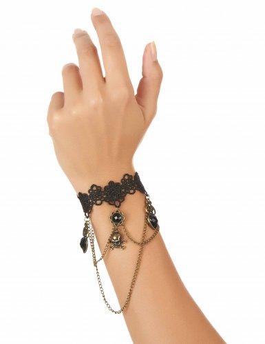 Armband aus feiner Spitze mit schwarzem Schuck-1