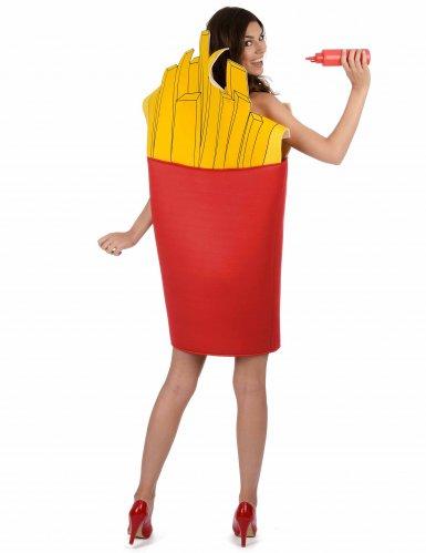 Pommes-Tüte Kostüm für Erwachsene rot-gelb-2