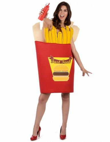Pommes-Tüte Kostüm für Erwachsene rot-gelb-3