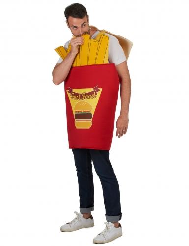 Pommes-Tüte Kostüm für Erwachsene rot-gelb-1