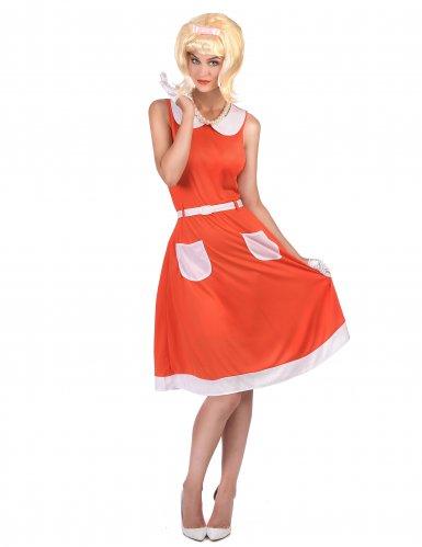 Retro 50er 60er Vintage Damenkostüm rot-weiß
