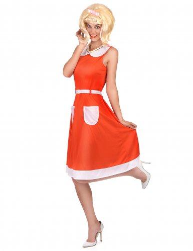 Retro 50er 60er Vintage Damenkostüm rot-weiß-1