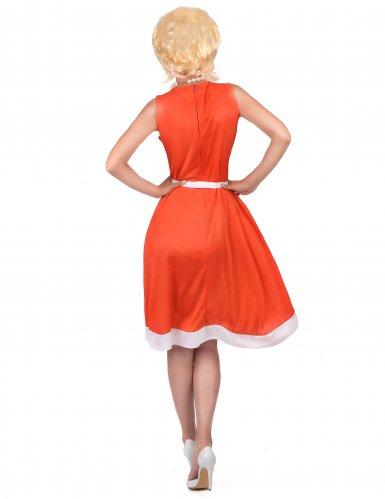 Retro 50er 60er Vintage Damenkostüm rot-weiß-2