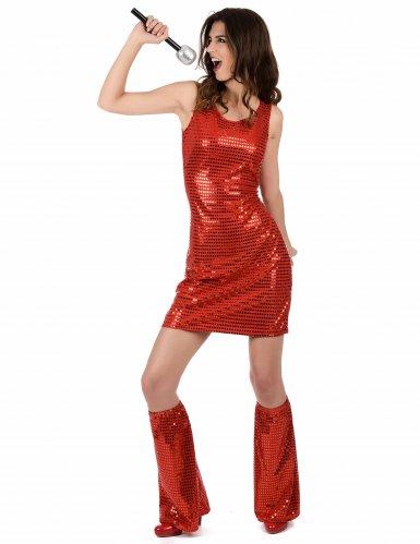 Pailletten-Disco-Kostüm rot für Damen