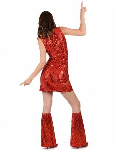 Pailletten-Disco-Kostüm rot für Damen-2