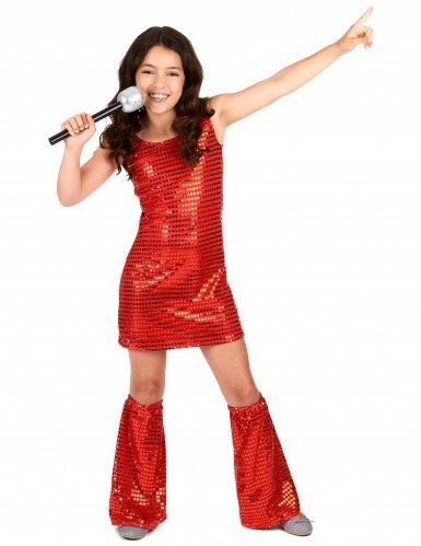 Disco Kinderkostüm mit Pailletten rot