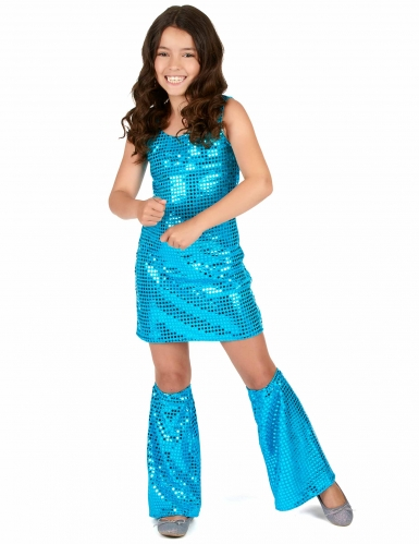 Disco Kinder-Kostüm mit Pailletten türkis