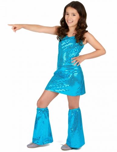 Disco Kinder-Kostüm mit Pailletten türkis-1