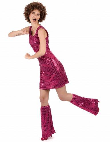 Pailletten-Disco-Kostüm magenta für Damen-1