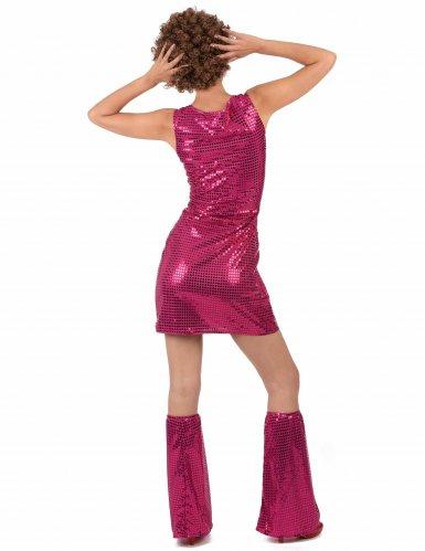Pailletten-Disco-Kostüm magenta für Damen-2