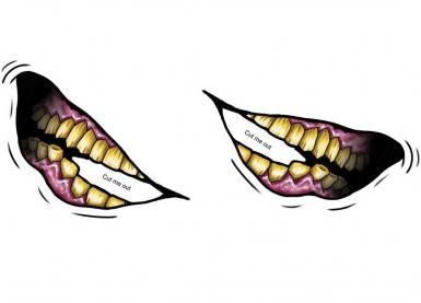 Temopäres Gesichtstattoo - verstohlenes Lachen-1