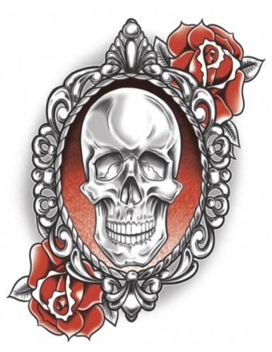 Modisches Abzieh-Tattoo Skelett und Rosen rot-weiß-schwarz