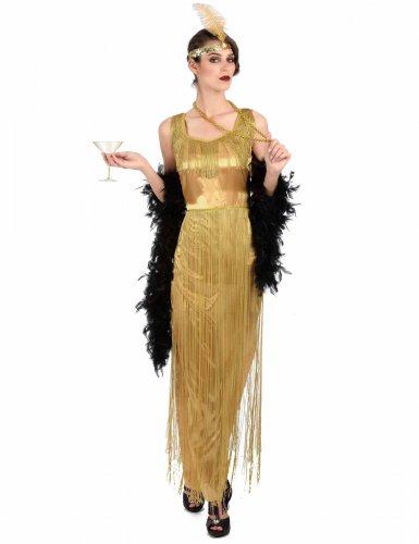 Edles Charleston Damen-Kostüm Fransen gold