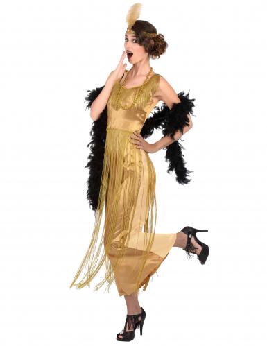 Edles Charleston Damen-Kostüm Fransen gold-1