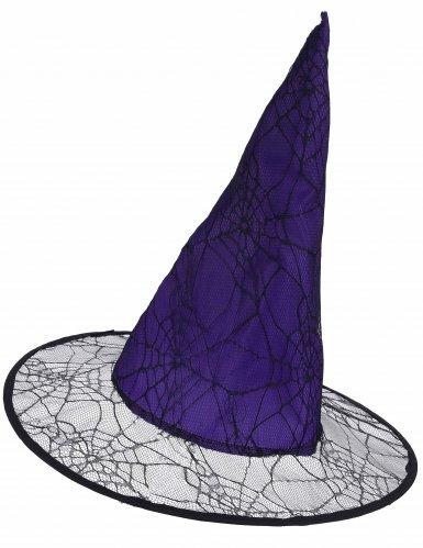 Hexenhut für Erwachsene violett mit Spinnenweben