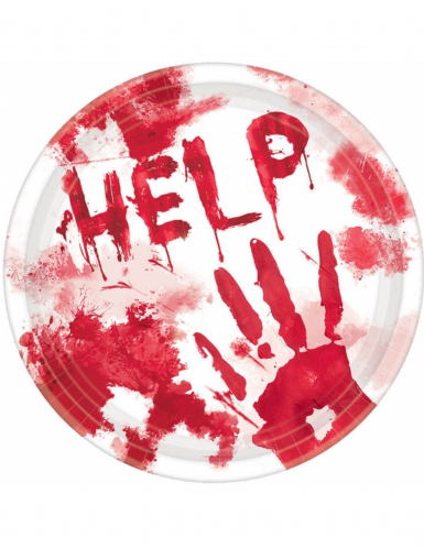 Blutige Teller HELP Halloween-Deko 10 Stück rot-weiß 23 cm