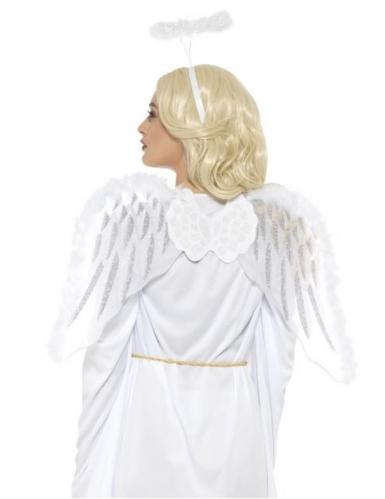 Engel Accessoire-Set Flügel und Haarreif weiß