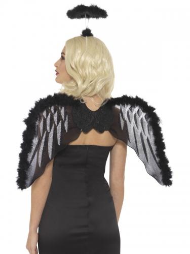Düsterer Engel Kostüm-Set 2-teilig für Halloween schwarz