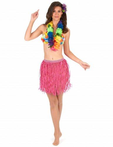 Hawaii -Bastrock für Erwachsene rosa