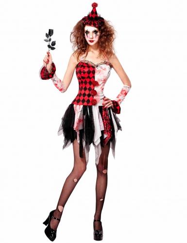 Damenkostüm Harlekin rot-weiß-schwarz