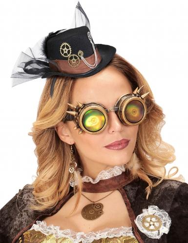 Steampunk-Hut mit Federn und Schleier Accessoire schwarz-1