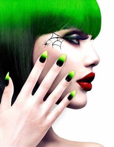 Kunstnägel inkl. Klebstoff schwarz-grün für Halloween