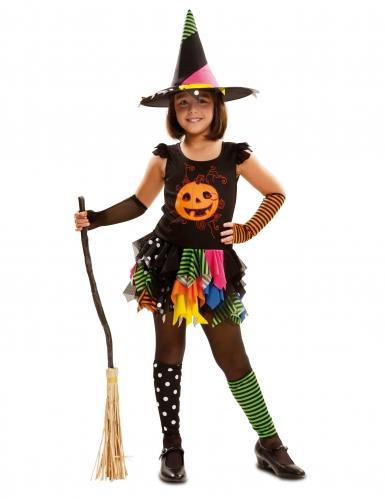 Hexen-Kostüm mit Kürbis für Mädchen