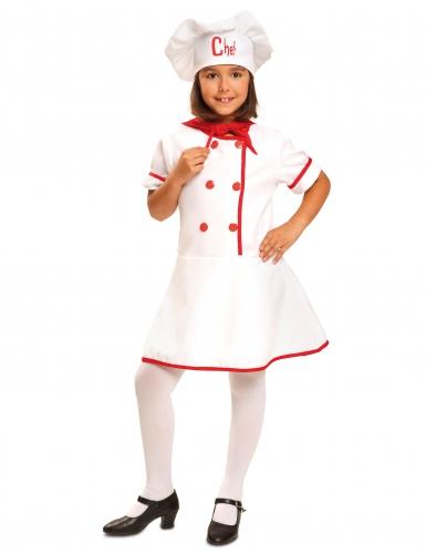 Köchin Kinder-Kostüm weiß-rot