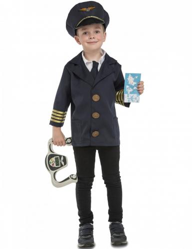 Pilot Kinder-Kostüm mit Accessoires blau-gold