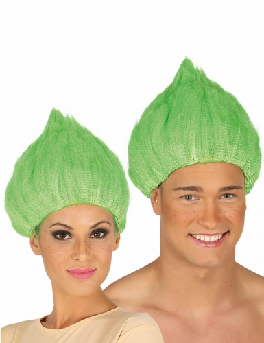 Knallige Troll Perücke für Erwachsene grün