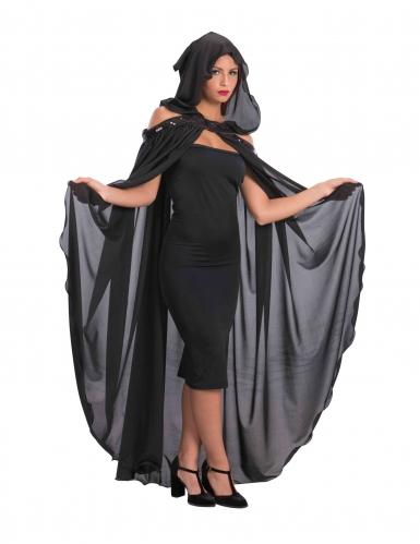 Schwarzer Umhang mit Kapuze für Damen