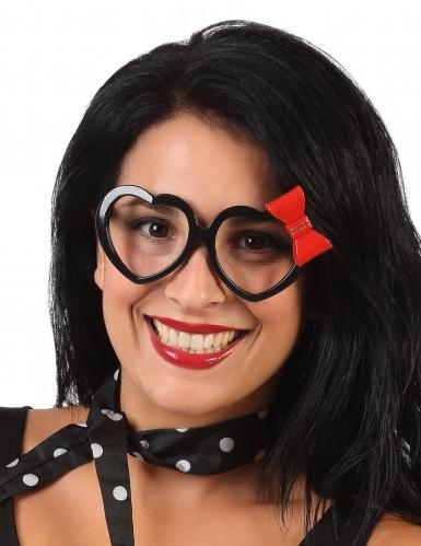 Spaß-Brille 50er-Jahre mit Herzform für Erwachsene Humor schwarz-rot